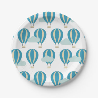 Prato De Papel Balões de ar quente azuis da cerceta