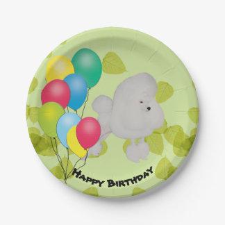 Prato De Papel Balões do feliz aniversario da caniche