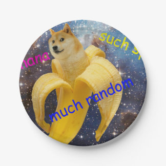 Prato De Papel banana   - doge - shibe - espaço - uau doge
