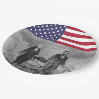 Prato De Papel Bandeira americana de George Washington Abraham