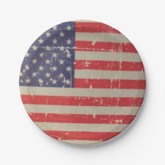 Prato De Papel Bandeira americana resistida, afligida dos EUA