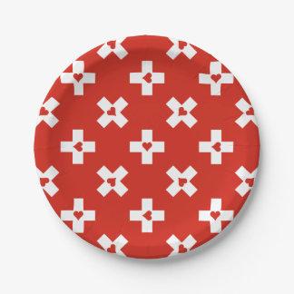 Prato De Papel Bandeira da suiça com teste padrão do coração