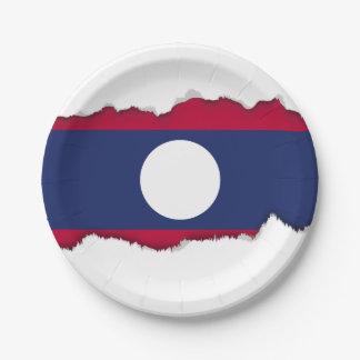 Prato De Papel Bandeira de Laos