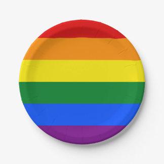 Prato De Papel Bandeira do arco-íris