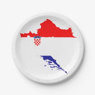 Prato De Papel Bandeira e mapa de Croatia