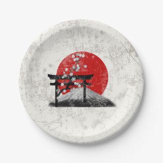 Prato De Papel Bandeira e símbolos de Japão ID153