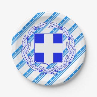 Prato De Papel Bandeira grega das listras