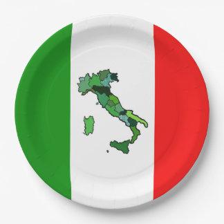 Prato De Papel Bandeira italiana com o mapa de Italia