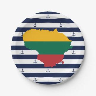 Prato De Papel Bandeira/mapa de Lithuania em fundo listrado