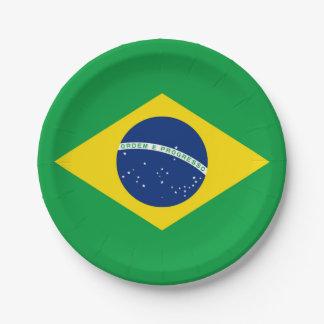 Prato De Papel Bandeira nacional de Brasil, cor exata da