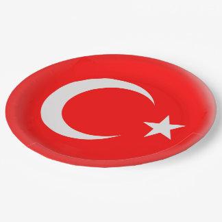 Prato De Papel Bandeira vermelha de Turquia & branca turca
