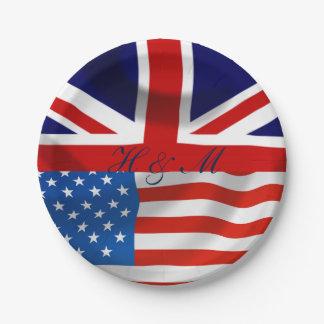 Prato De Papel Bandeiras americanas e britânicas, casamento real