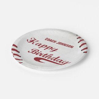 Prato De Papel Basebol do Grunge do feliz aniversario do