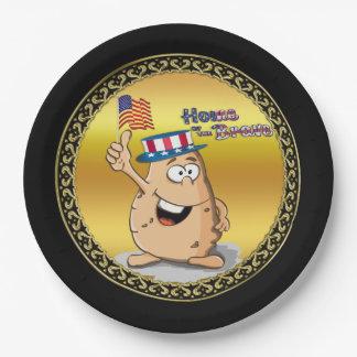 Prato De Papel Batata patriótica com chapéu americano e uma
