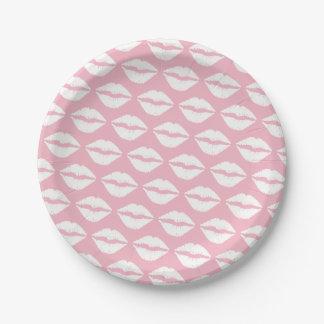 Prato De Papel Batom rosa pálido e branco