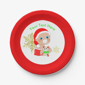 Prato De Papel Bebê bonito do papai noel do Natal personalizado