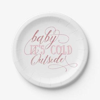 Prato De Papel Bebê é placa cor-de-rosa exterior fria das