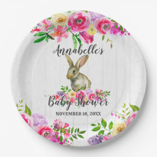 Prato De Papel Bebê floral Showe da aguarela do coelho de coelho
