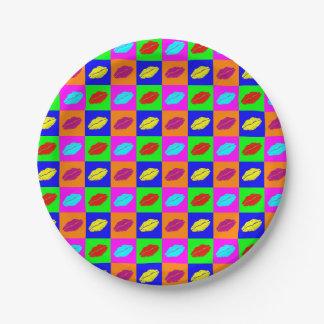 Prato De Papel Beijo colorido do batom do pop art