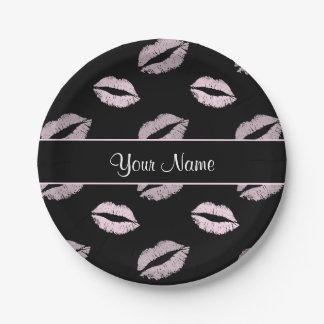 Prato De Papel Beijos do preto e do rosa
