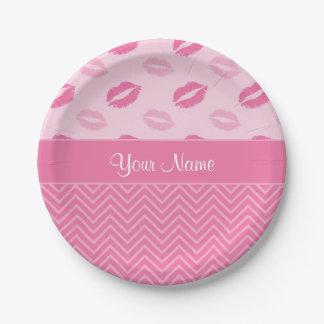 Prato De Papel Beijos e ziguezagues rosa e branco