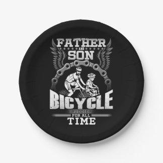 Prato De Papel Bicicleta do filho do pai