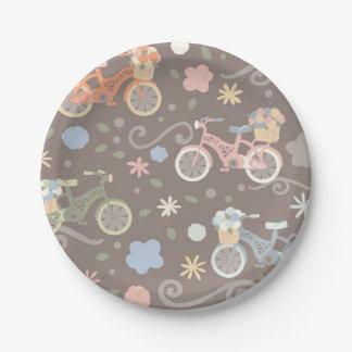 Prato De Papel Bicicleta retro e flores