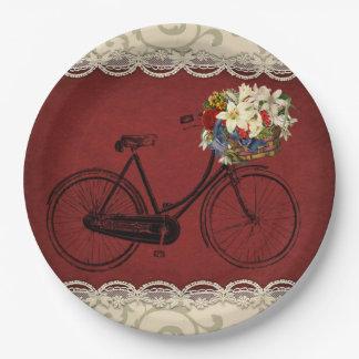 Prato De Papel Bicicleta vermelha   da bicicleta do marfim do