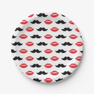 Prato De Papel Bigode & lábios seus & dela teste padrão da festa