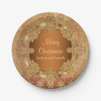 Prato De Papel Biscoitos do pão-de-espécie do Feliz Natal