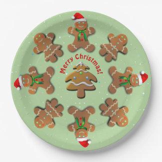 Prato De Papel Biscoitos do pão-de-espécie que dançam em torno da