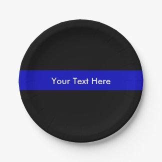 Prato De Papel Blue Line fino policia o apoio da lei