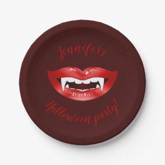 Prato De Papel Boca vermelha do vampiro com texto feito sob