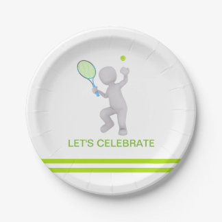 Prato De Papel bola da raquete de tênis do jogador de ténis 3D
