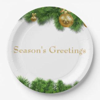 Prato De Papel Bolas do Natal do ouro da festão do pinho do Natal