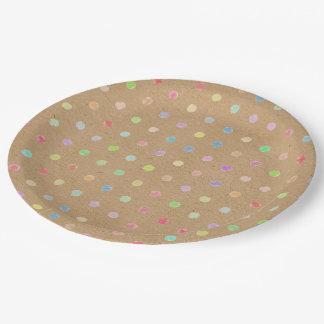 Prato De Papel Bolinhas coloridas no fundo do papel de embalagem