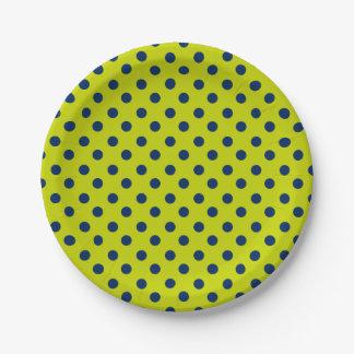 Prato De Papel Bolinhas dos azuis marinhos no verde limão