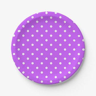 Prato De Papel Bolinhas violetas e brancas modernas