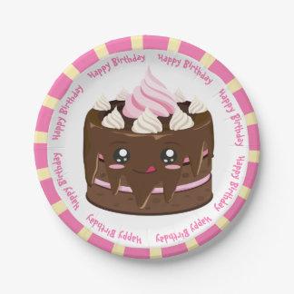 Prato De Papel Bolo do kawaii do chocolate do feliz aniversario