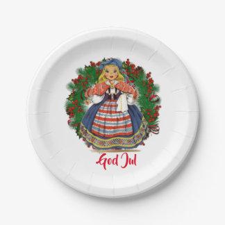 Prato De Papel Boneca retro sueco do Feliz Natal de julho do deus
