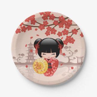Prato De Papel Boneca vermelha de Sakura Kokeshi - gueixa