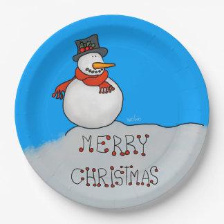 Prato De Papel Boneco de neve do Feliz Natal