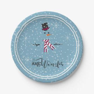 Prato De Papel Boneco de neve ID440 azul do Natal da mágica e da