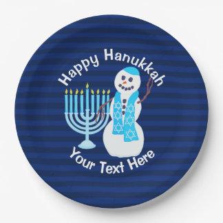 Prato De Papel Boneco de neve judaico de Z Hanukkah e partido