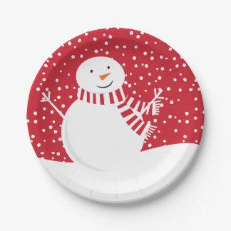Prato De Papel boneco de neve vermelho e branco contemporâneo