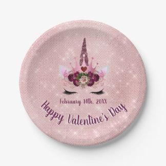 Prato De Papel Bonito cora o partido cor-de-rosa do dia dos