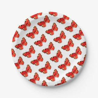 Prato De Papel Borboleta do vermelho da aguarela da borboleta