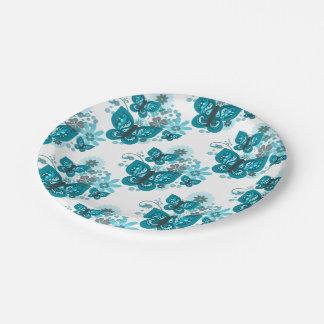 Prato De Papel Borboletas & placas de papel das flores (azuis)