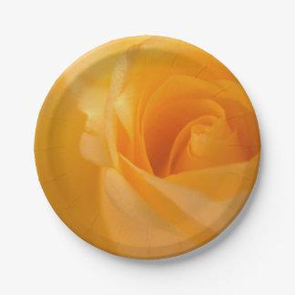 Prato De Papel Botão elegante do rosa amarelo