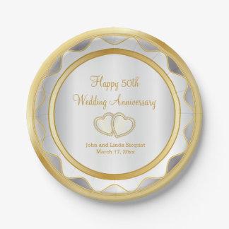 Prato De Papel Branco & aniversário de casamento do ouro 50th